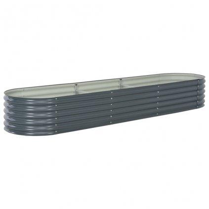 Zahradní truhlík - šedý - pozinkovaná ocel | 320x80x44 cm
