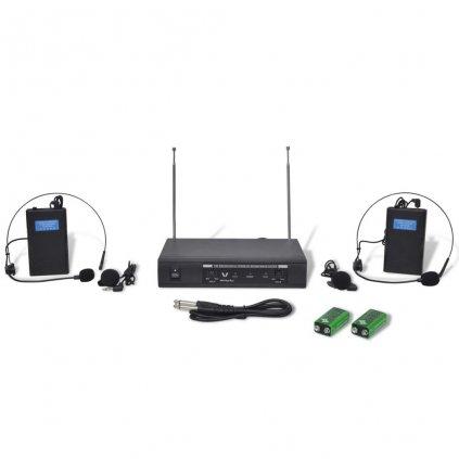 Bezdrátový mikrofonní systém VHF-přijímač a 2 x headset mikrofon