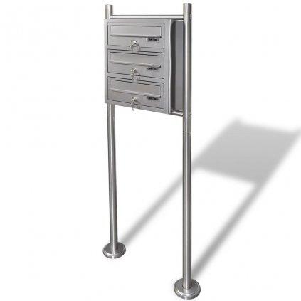 Poštovní schránky - 3x - na stojanu z nerezové oceli