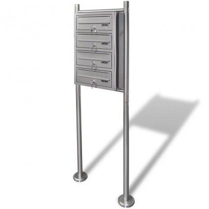 Poštovní schránky - 4x - na stojanu z nerezové oceli