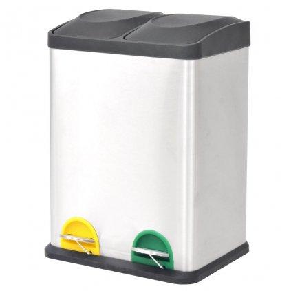 Odpadkový koš na tříděný odpad - nerezový   2x18L