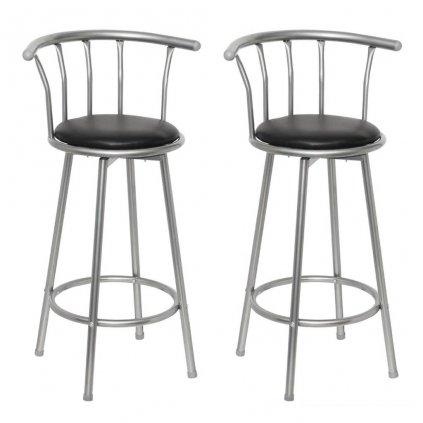 2 barové židle | kůže a ocel