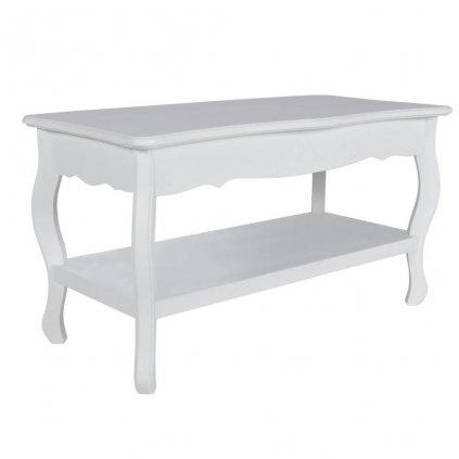 Antik konferenční stolek s poličkou | bílý