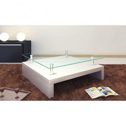 Konferenční stolek se skleněnou deskou - čtvercový | bílý