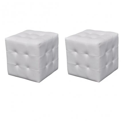 2 x taburet - kostka | bílý
