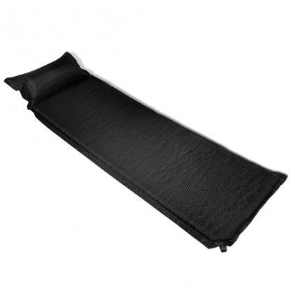 Černá nafukovací matrace s polštářem | 6x66x200 cm