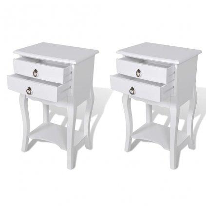 Noční stolky se zásuvkami - 2 ks | bílé