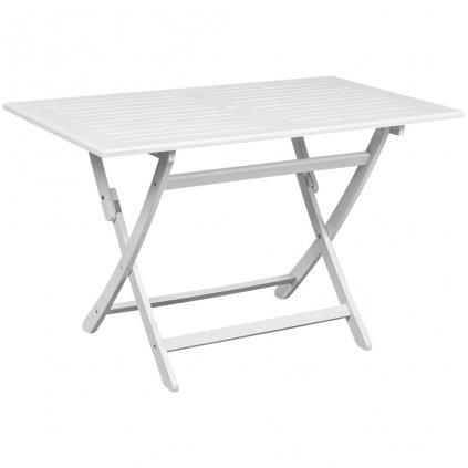 Zahradní jídelní stůl - akáciové dřevo - bílý   120x70x75 cm
