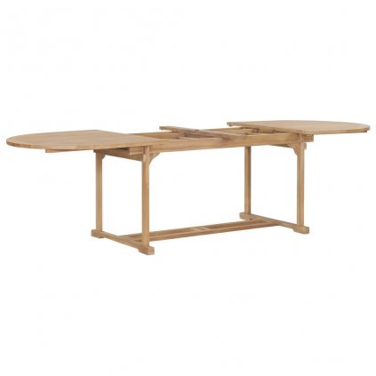Rozkládací zahradní stůl - masivní teak - oválný | (180–280)x100x75cm