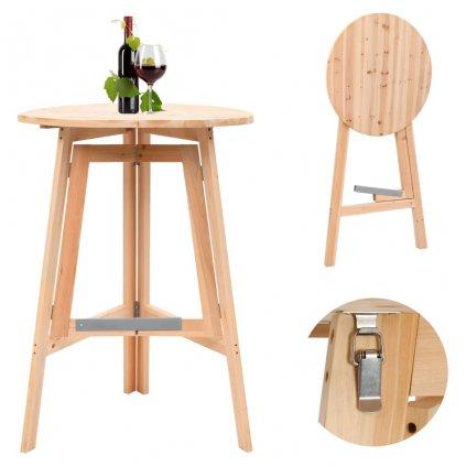 Skládací barový stůl - jedlové dřevo | 78 cm