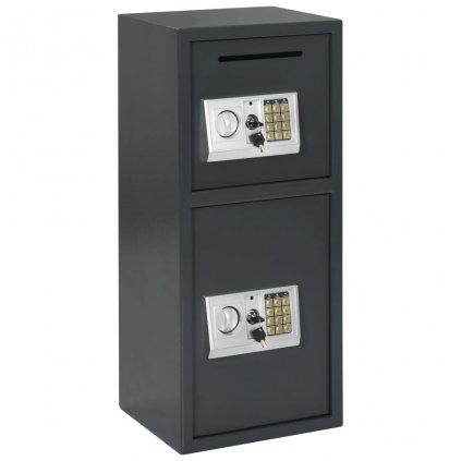 Digitální trezor se dvěma dvířky - tmavě šedý | 35x31x80 cm