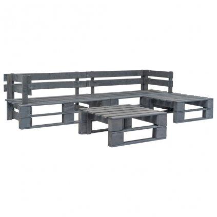 4-dílná zahradní sedací souprava z palet - FSC dřevo | šedá