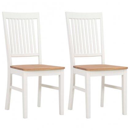 Jídelní židle - 2 ks - masivní dubové dřevo - bílé | 44x59x95 cm