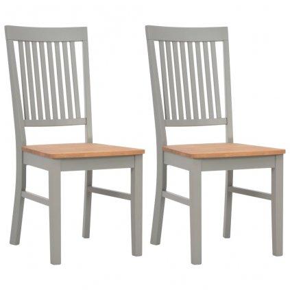 Jídelní židle - 2 ks - masivní dubové dřevo - šedé | 44x59x95 cm
