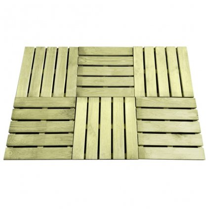12 ks Terasové dlaždice - FSC dřevo zelené | 50x50 cm