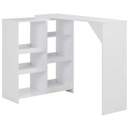 Barový stůl s pohyblivým regálem - bílý | 138x40x120 cm