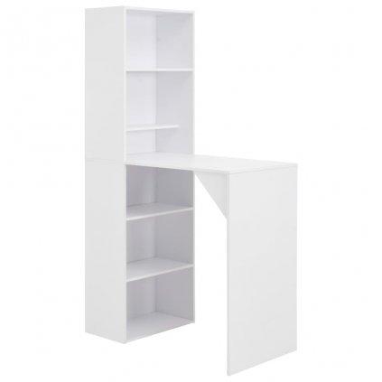 Barový stůl se skříní - bílý | 115x59x200 cm