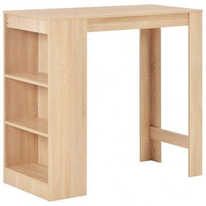Barový stůl s regálem - dubový | 110x50x103 cm