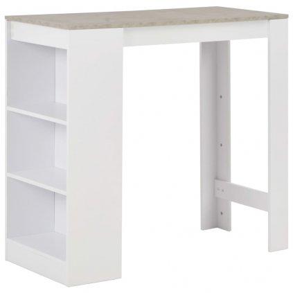 Barový stůl Eland s regálem - 110x50x103 cm | bílý