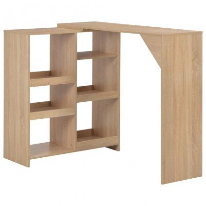 Barový stůl s pohyblivým regálem - dubový | 138x40x120 cm
