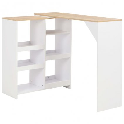 Barový stůl Mangy s pohyblivým regálem - bílý | 138x40x120 cm