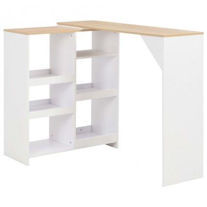 Barový stůl Mangy s pohyblivým regálem - bílý   138x40x120 cm