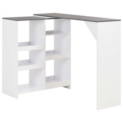 Barový stůl Tamara s pohyblivým regálem - bílý | 138x40x120 cm