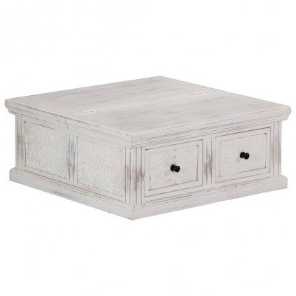 Konferenční stolek - masivní mangovník - bílý | 70x70x30 cm
