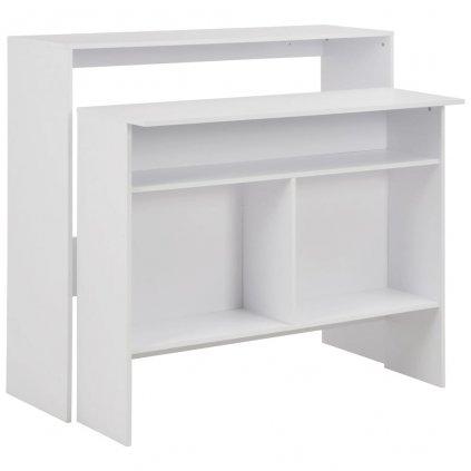 Barový stůl se 2 stolními deskami - bílý | 130x40x120 cm