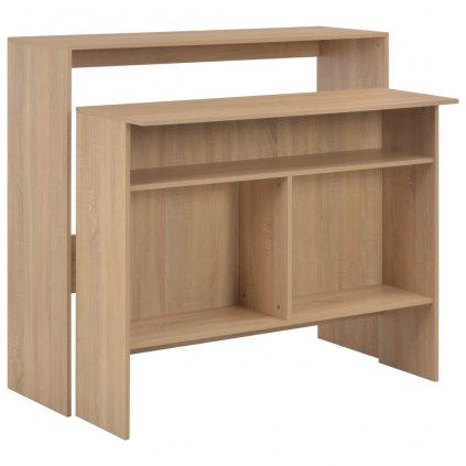 Barový stůl se 2 stolními deskami - dubový | 130x40x120 cm
