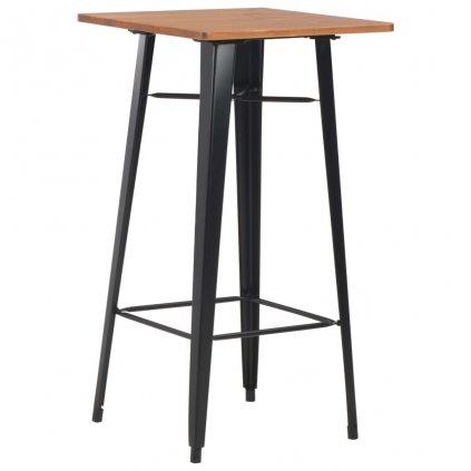 Barový stůl - masivní borové dřevo a ocel - černý | 60x60x108 cm