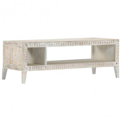 Konferenční stolek - masivní mangovník - bílý | 110x50x40 cm