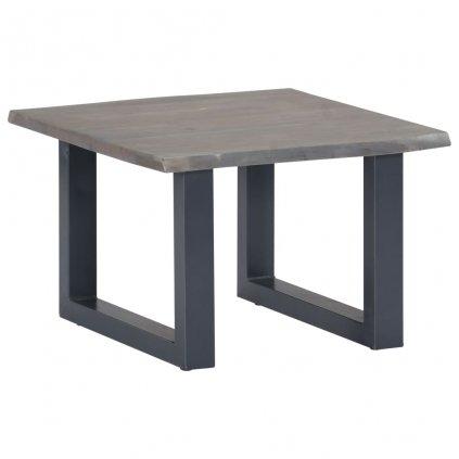 Konferenční stolek - akáciové dřevo a železo - šedý | 60x60x40 cm