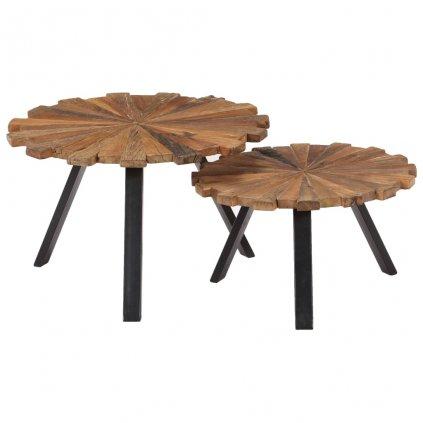 Konferenční stolky - masivní pražcové dřevo | 2 ks