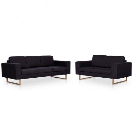 2-dílná sedací souprava - textilní | černá