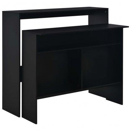 Barový stůl se 2 stolními deskami - černý | 130x40x120 cm