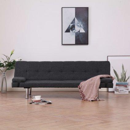 Rozkládací pohovka se 2 polštáři - tmavě šedá | polyester