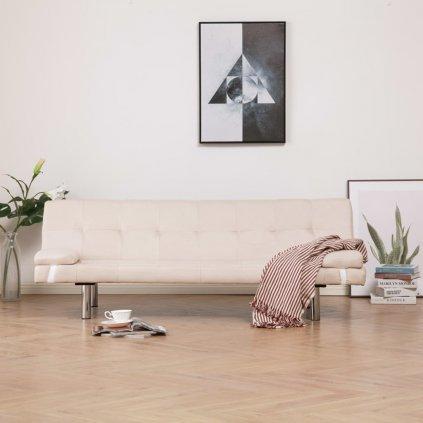 Rozkládací pohovka se 2 polštáři - krémová | polyester