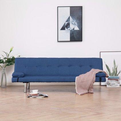 Rozkládací pohovka se 2 polštáři - modrá | polyester