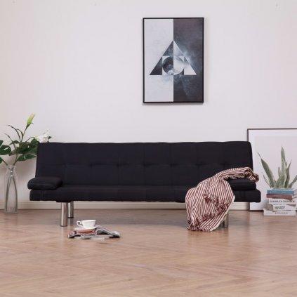 Rozkládací pohovka se 2 polštáři - černá | polyester