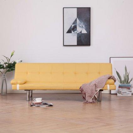 Rozkládací pohovka se 2 polštáři - žlutá | polyester
