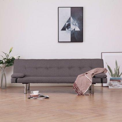 Rozkládací pohovka se 2 polštáři - taupe | polyester