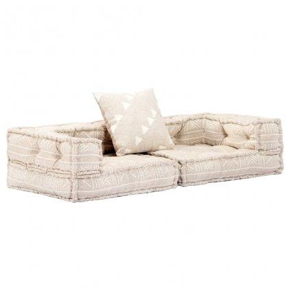 2-místná rozkládací pohovka s područkami - tkanina | béžová