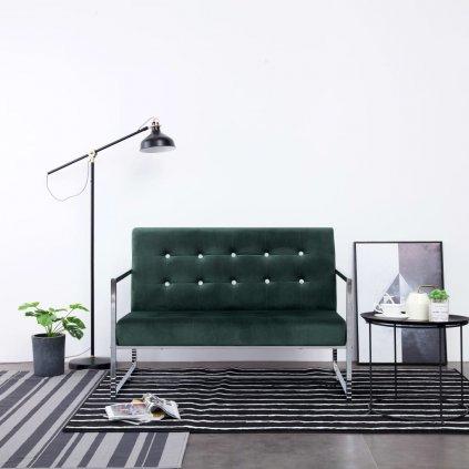 2-místná pohovka s područkami - chrom a samet | tmavě zelená
