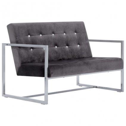 2-místná pohovka s područkami - chrom a samet   tmavě šedá