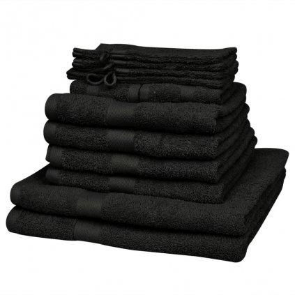 Sada ručníků a osušek 12 ks - bavlna - 500 g/m² | černá