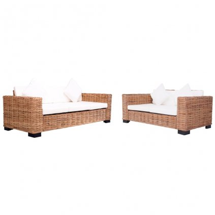 2-dílná zahradní sedací souprava s poduškami | přírodní ratan