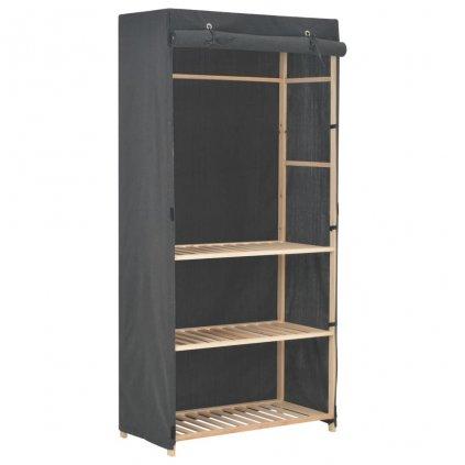 3-úrovňová šatní skříň - látka - šedá | 79x40x170 cm