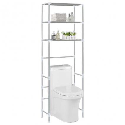 3-patrový úložný regál nad WC - stříbrný | 53x28x169 cm