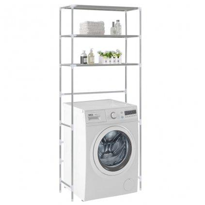 3-patrový úložný regál nad pračku - stříbrný | 69x28x169 cm